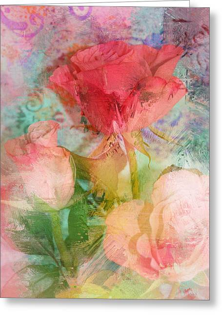 The Romance Of Roses Greeting Card by Carla Parris