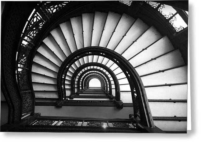 The Rookery Staircase In Black And White Greeting Card by Kelly Hazel