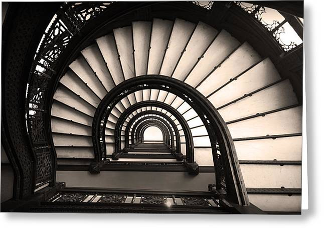 The Rookery Staircase In Sepia Tone Greeting Card