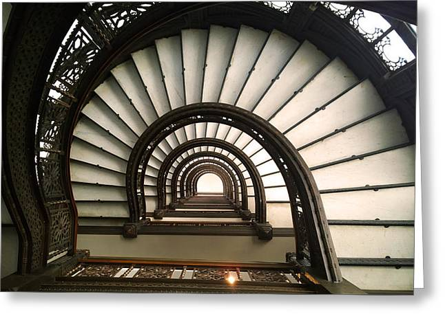 The Rookery Staircase Lasalle St Chicago Illinois Greeting Card by Kelly Hazel