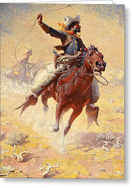 The Roping Greeting Card by William Robinson Leigh
