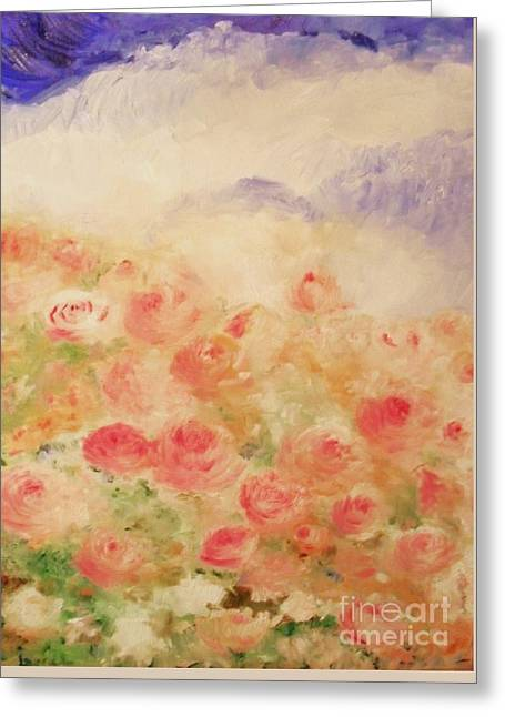 Greeting Card featuring the painting The Rose Bush by Laurie L