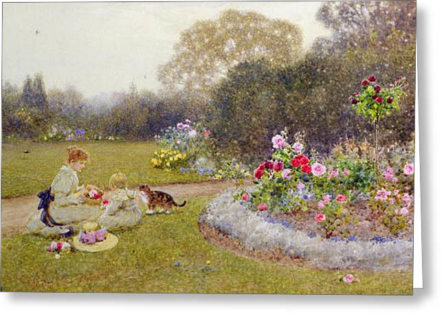 The Rose Garden Greeting Card by Thomas James Lloyd