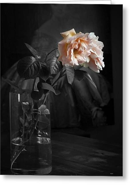 The Rose Grew Pale And Left Her Cheek Greeting Card by Theresa Tahara