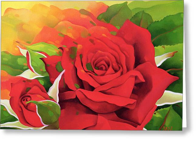 The Roses In The Festival Of Light Greeting Card by Myung-Bo Sim