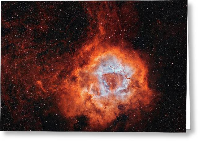 The Rosette Nebula, With Open Cluster Greeting Card