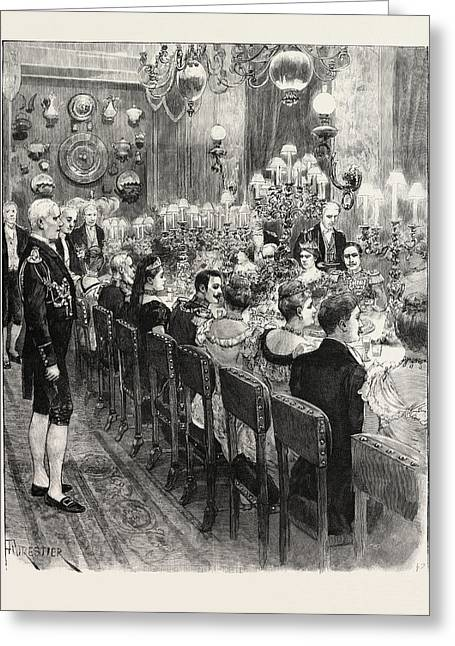The Royal Marriage At Berlin, Germany Banquet At The Royal Greeting Card by German School