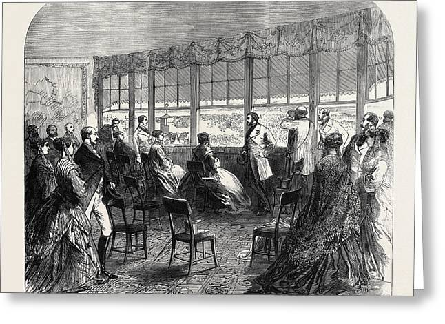 The Royal Party At Ascot Races 1868 Greeting Card by English School