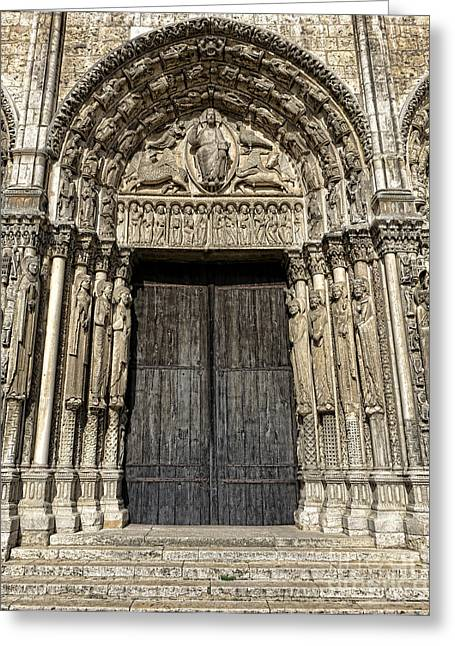 The Royal Portal At Chartres Greeting Card by Olivier Le Queinec