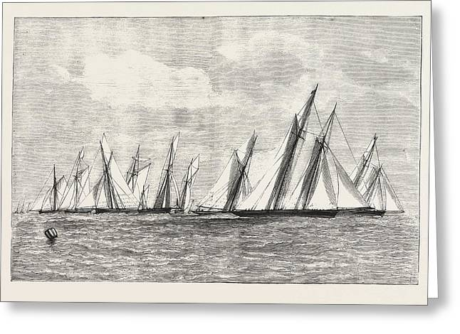 The Royal Thames Yacht Club Channel Match, Engraving 1876 Greeting Card