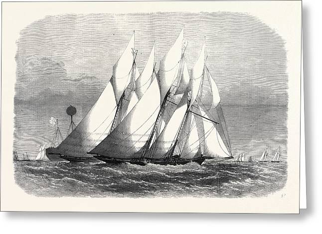 The Royal Thames Yacht Club Schooner Match The Cambria Greeting Card