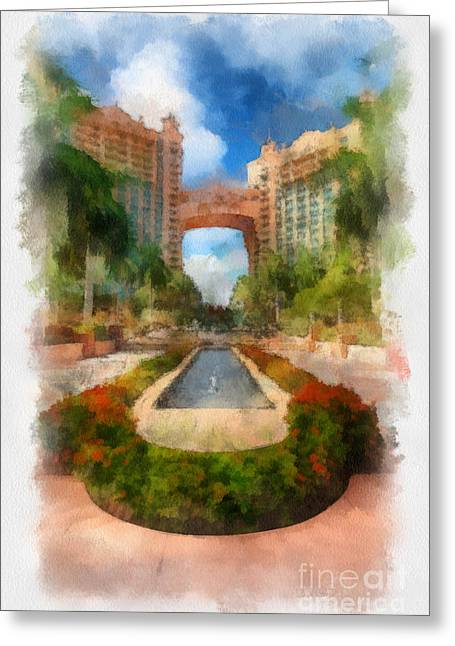 The Royal Towers Atlantis Resort Greeting Card by Amy Cicconi