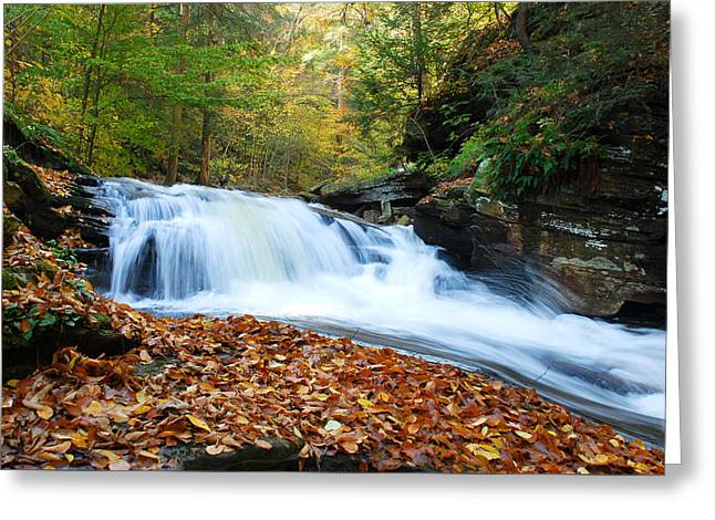 The Rushing Waterfall Greeting Card