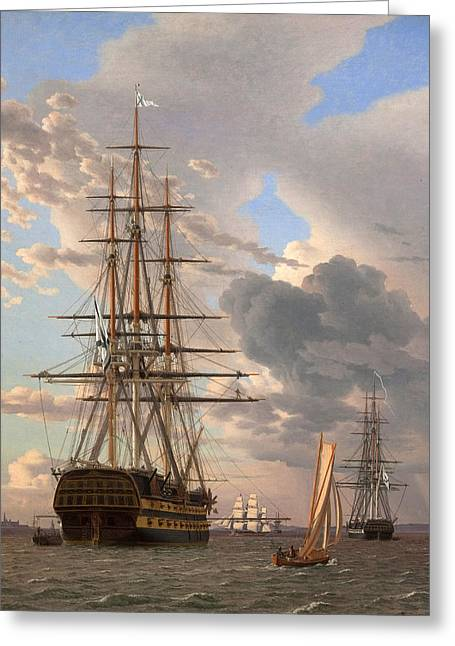 The Russian Ship Of The Line Assow And A Frigate At Anchor In The Roads Of Elsinore Greeting Card by Christoffer Wilhelm Eckersberg