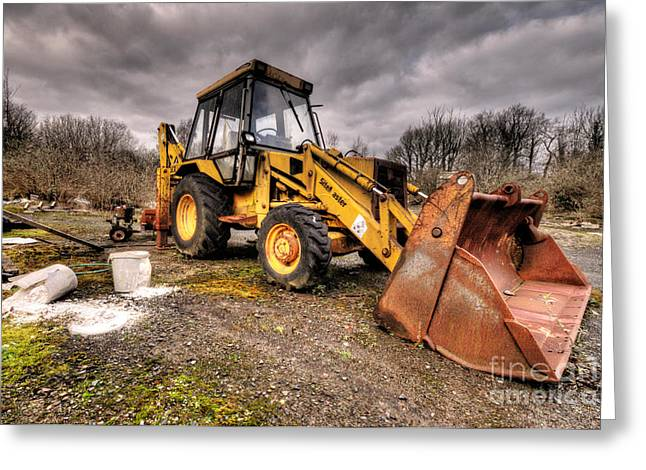 The Rusty Digger Greeting Card by Rob Hawkins