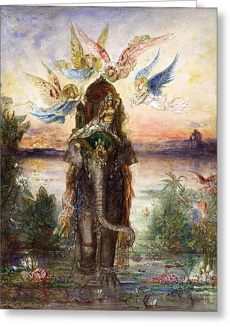 The Sacred Elephant Greeting Card by Gustave Moreau
