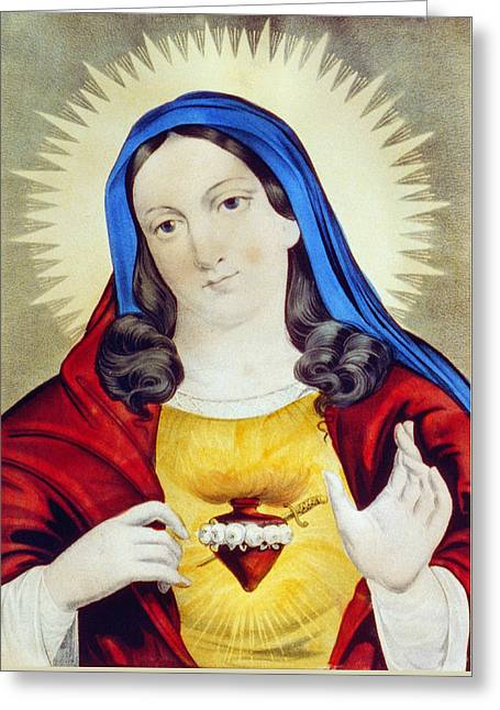 The Sacred Heart Of Mary Greeting Card by Bill Cannon