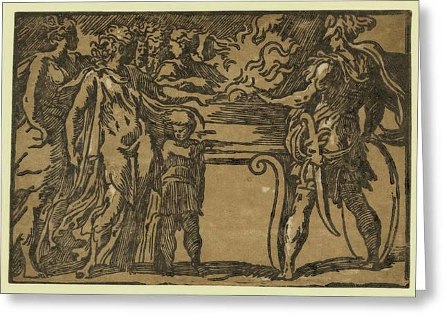 The Sacrifice, Between Ca Greeting Card by Parmigianino, Girolamo Francesco Maria Mazzola (1503-1540), Italian