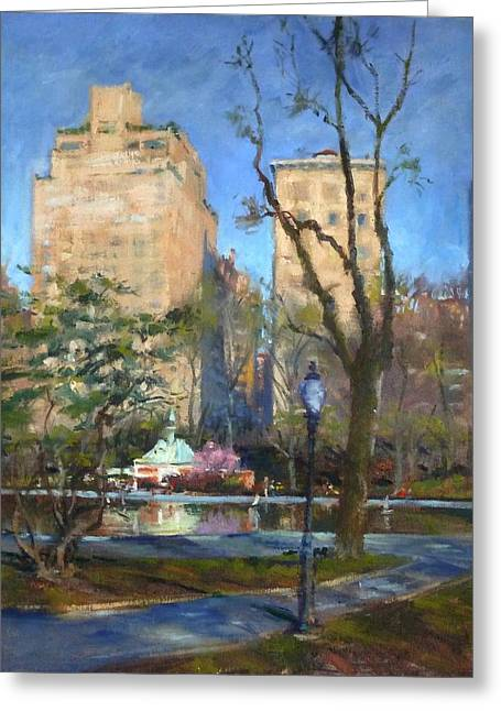 The Sailboat Pond In Central Park Greeting Card
