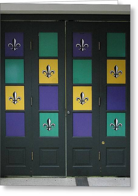The Saints Doors Greeting Card by Steven Parker
