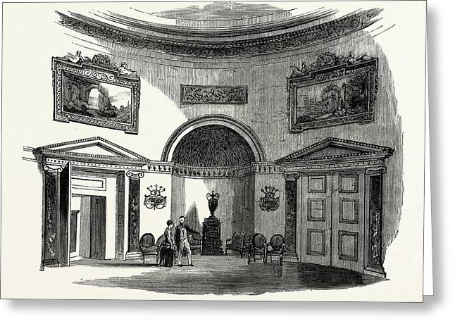 The Saloon, Kedleston Hall, Uk, England, Engraving 1870s Greeting Card