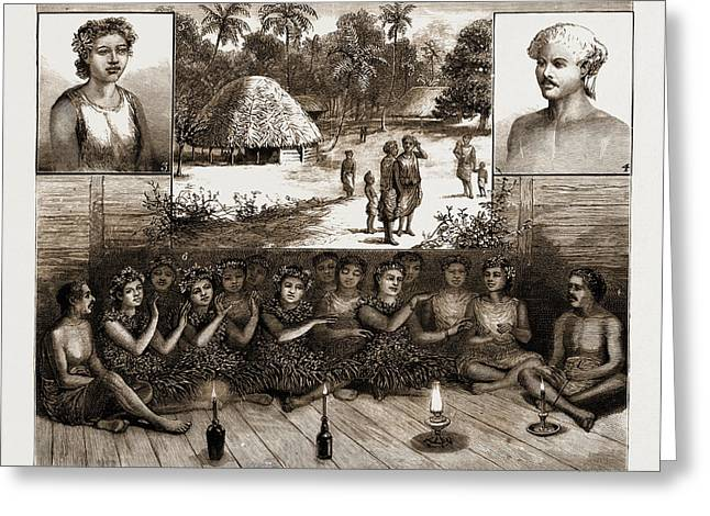 The Samoan Islands, 1881 1. Leumanu, Chief Of Apia. 2 Greeting Card by Litz Collection