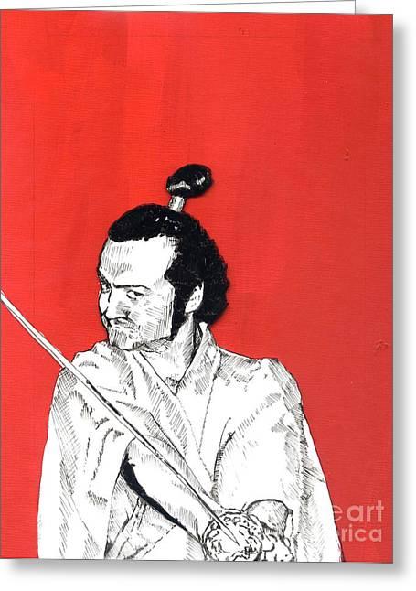 The Samurai On Red Greeting Card by Jason Tricktop Matthews