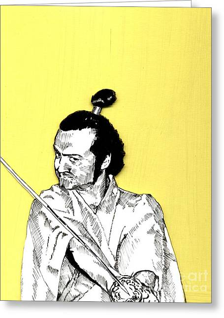 Greeting Card featuring the mixed media The Samurai On Yellow by Jason Tricktop Matthews
