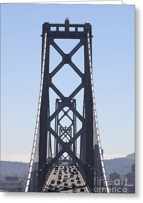 The San Francisco Bay Bridge Into The City 5d25419 Vertical Greeting Card by Wingsdomain Art and Photography