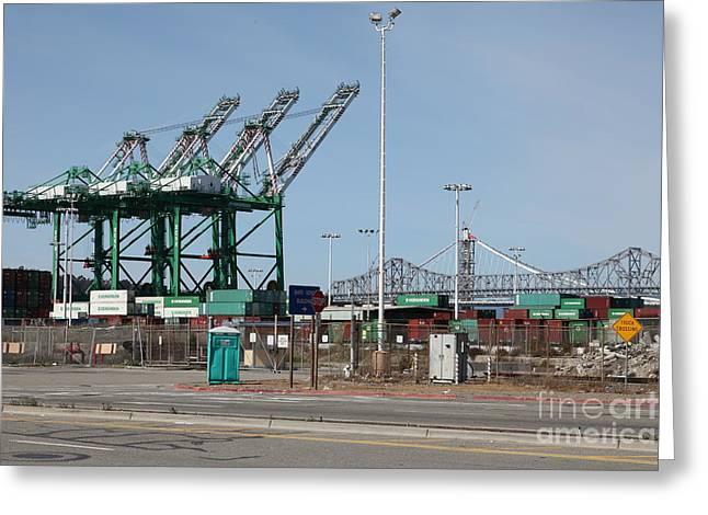 The San Francisco Oakland Bay Bridge Through The Port Of Oakland 5d22250 Greeting Card