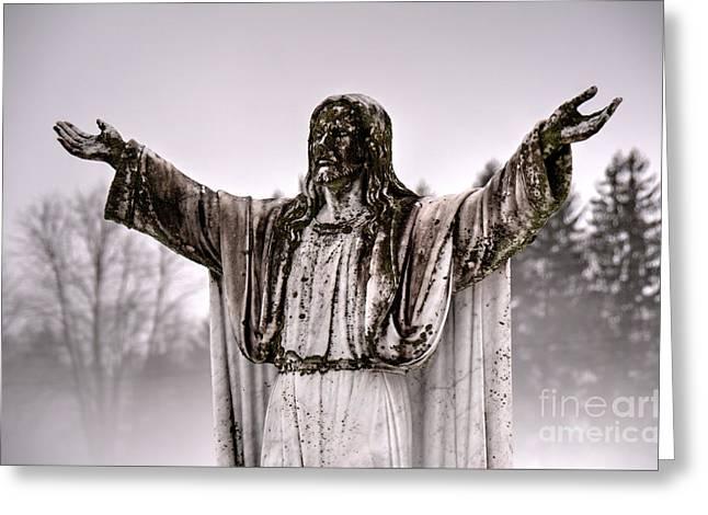 The Savior In The Fog Greeting Card by Jeffrey Miklush
