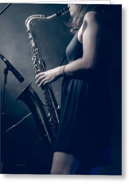 The Saxophonist Sounds In The Night Greeting Card by Bob Orsillo