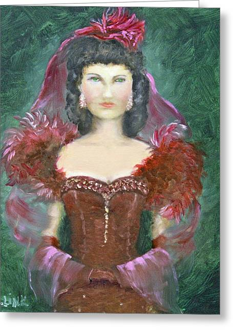 The Scarlet Dress Greeting Card