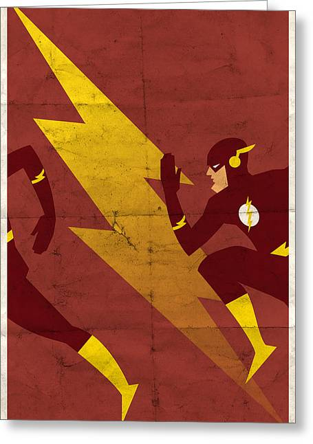 Greeting Card featuring the digital art The Scarlet Speedster by Michael Myers