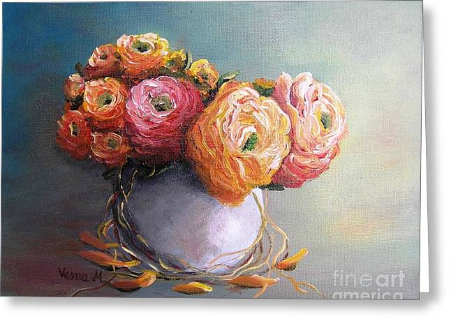 Greeting Card featuring the painting The Scent Of Flowers by Vesna Martinjak