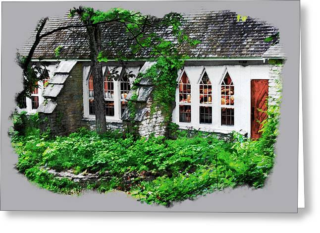 Greeting Card featuring the digital art The Schoolhouse At The Clearing - Ellison Bay - Door County Wisconsin by David Blank