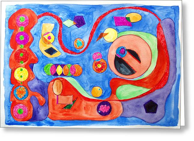 Greeting Card featuring the painting The Science Of Shapes 1 by Esther Newman-Cohen