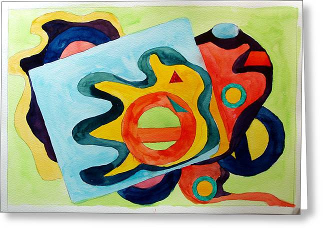 Greeting Card featuring the painting The Science Of Shapes 3 by Esther Newman-Cohen