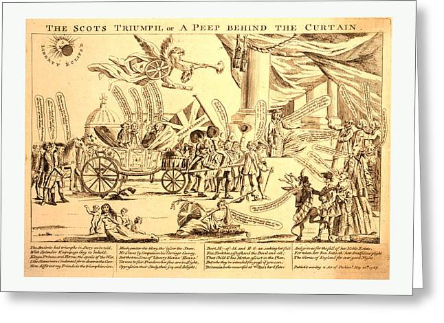 The Scots Triumph, Or A Peep Behind The Curtain Greeting Card by Litz Collection