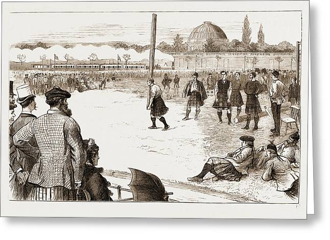 The Scottish Gathering At Stamford Bridge Tossing The Caber Greeting Card