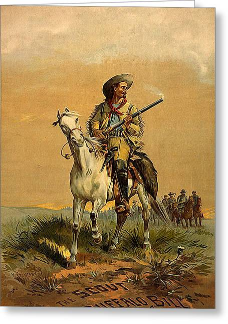 The Scout Buffalo Bill Greeting Card by Unknown