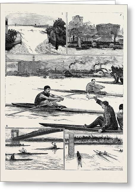 The Sculling Match On The Tyne Between Hanlan And Boyd Greeting Card by English School