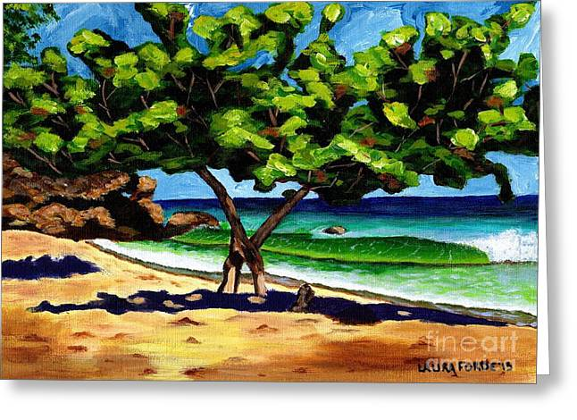 The Sea-grape Tree Greeting Card by Laura Forde