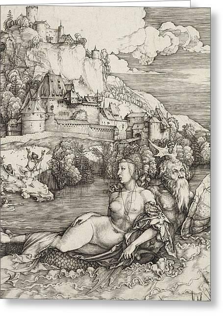 The Sea Monster Greeting Card by Albrecht Durer or Duerer