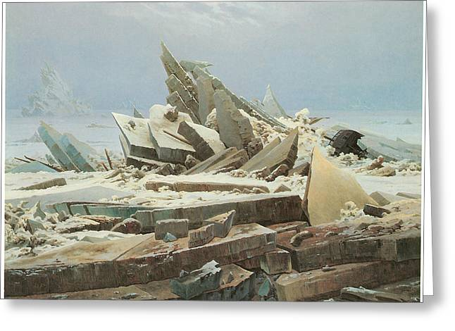 The Sea Of Ice Greeting Card by Caspar David Friedrich
