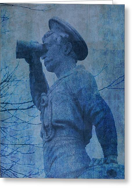 The Seaman In Blue Greeting Card by Lesa Fine