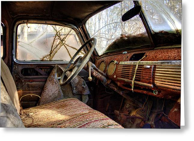 The Seat Of An Old Truck Greeting Card by Greg Mimbs