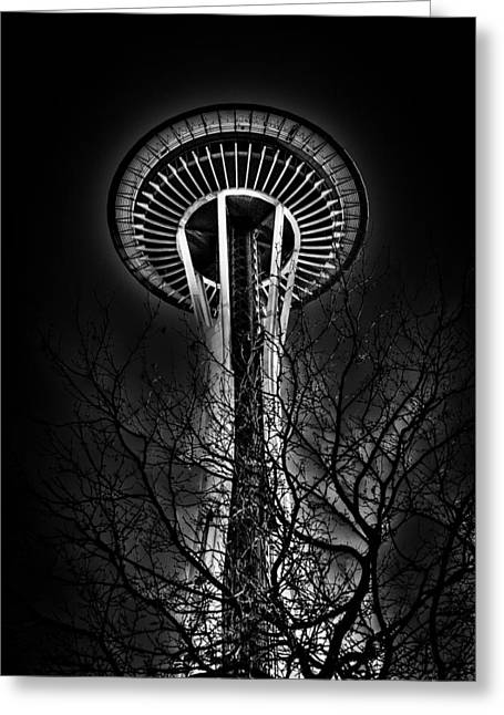 The Seattle Space Needle At Night Greeting Card