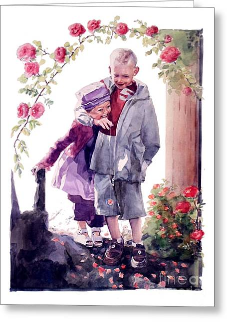 Watercolor Of A Boy And Girl In Their Secret Garden Greeting Card