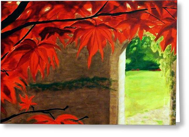 Greeting Card featuring the painting The Secret Garden by Janet McDonald